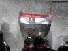 Egyptian protester flashes Egypts flag