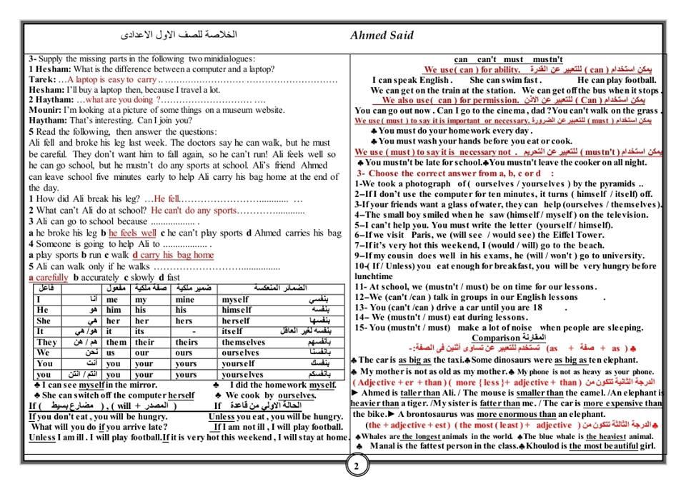 5 ورقات الخلاصة في مراجعة انجليزي اولي اعدادي ترم ثاني
