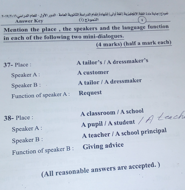 النموذج الرسمي لاجابة امتحان اللغة الانجليزية ثانوية عامة 2017