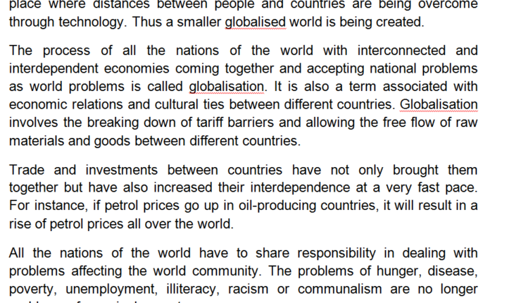 Paragraph on Globalization