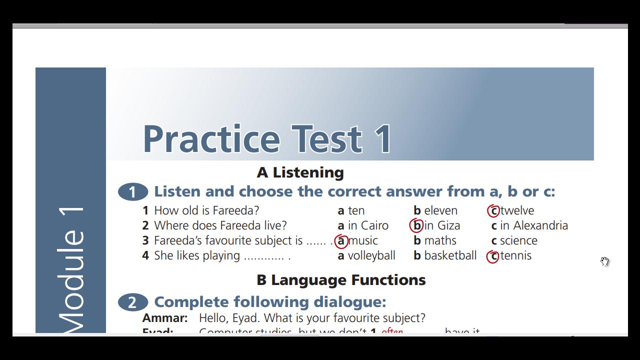 مشاهدة وتحميل اجابات practice tests اولي اعدادي ترم اول