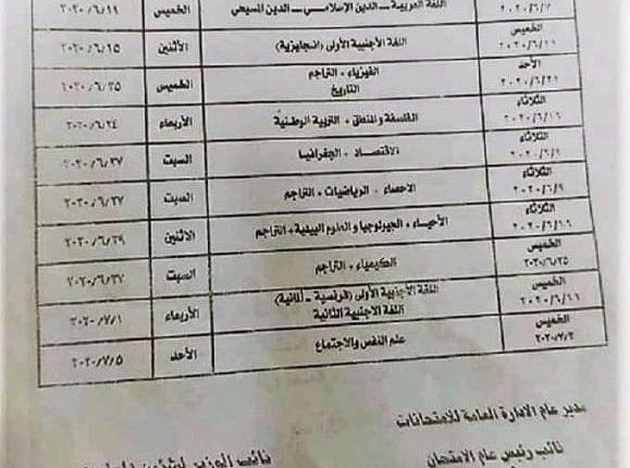 جدول التعليم المقترح لتقدير درجات الثانوية العامة