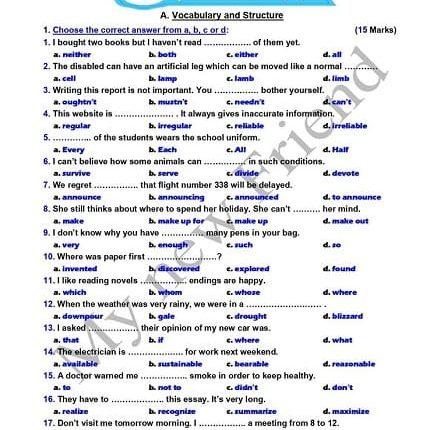 تحميل امتحان اللغة الانجليزية 3ث 2020 مع الاجابة