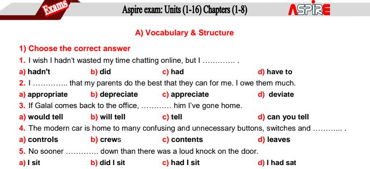 امتحان انجليزي شامل بالمواصفات المتوقعة 3ث كل المنهج